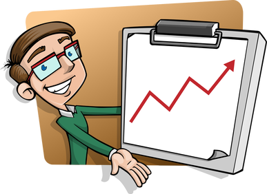 illustration of man proudly showing off graph of upward arrow
