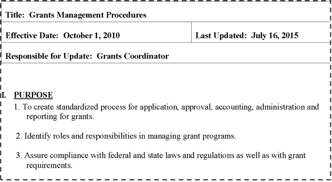 screenshot of top of our grants procedure template